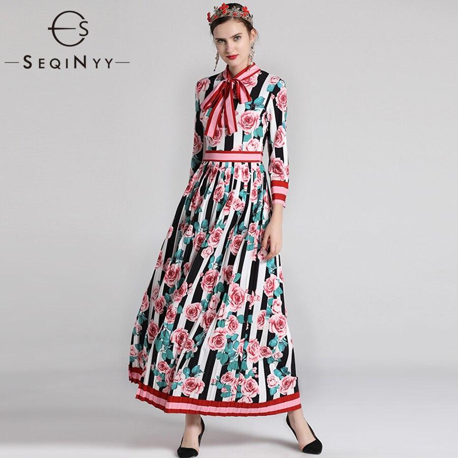 SEQINYY haute qualité 2018 automne mode robe à manches longues femmes Plus XXL arc rayure imprimé Floral Vintage longue robe