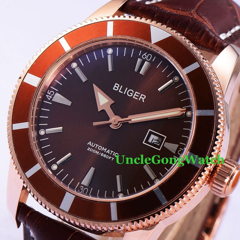 46mm Bliger Automatic Mens Watches Coffee Dial Rose Gold PVD Case Timepiece Brown Strap Deployment Buckle Clock BA4601RC
