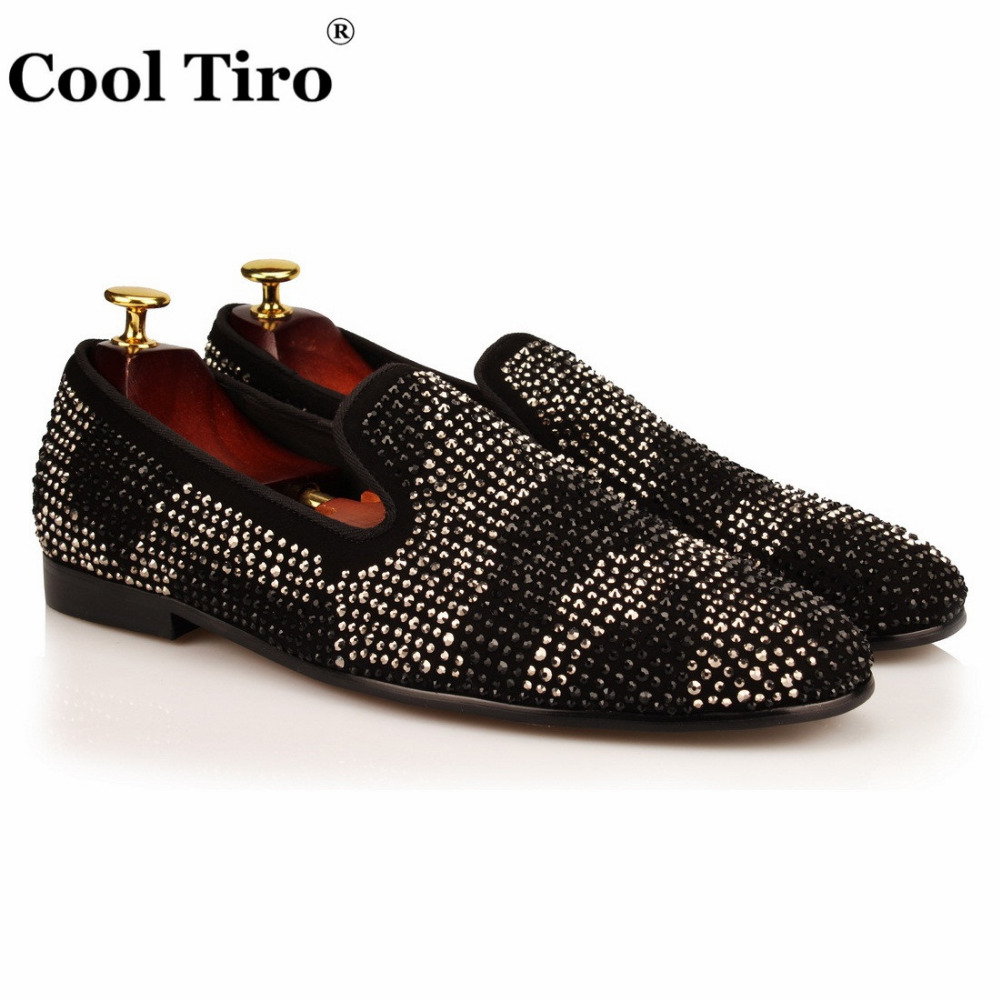 COOL TIRO Black Suede with Rhinestone Men Loafers Shoes Fashion Smoking  Slippers Men s Slip on Flats 6f865cae9d67