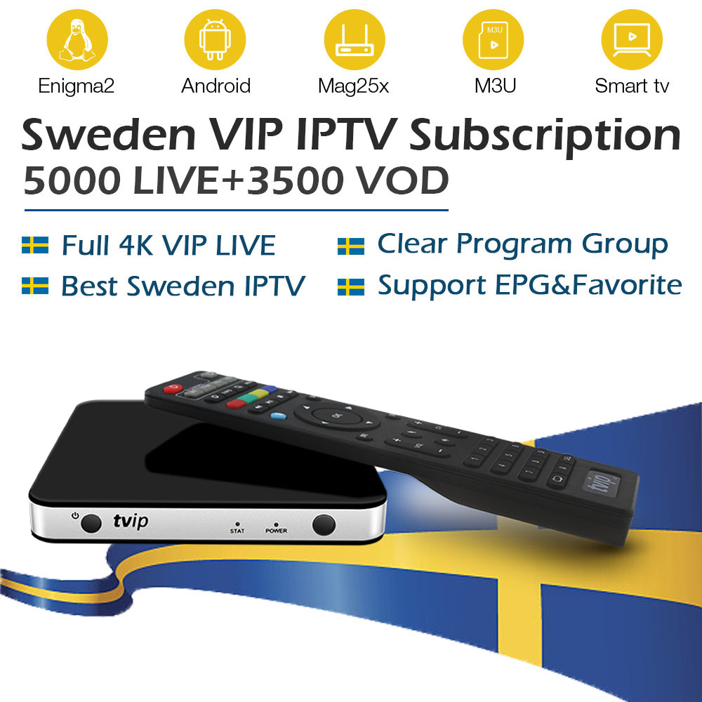 TVIP 605 tv box with android Linux OS 1 year Nordic Sweden iptv subscription 6000 live