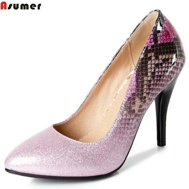 09f3baf6dc ASUMER rosa azul moda primavera outono senhoras bombas dedo apontado rasa  sapatos elegantes sapatos de casamento