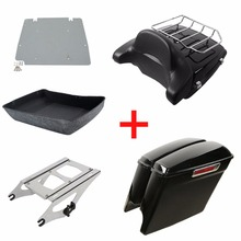 """Motorcycle Pack Trunk 5"""" Stretched Extended Saddle Bags For Harley Tour Pak Touring Road King Street Glide Road CVO 2014 2020"""