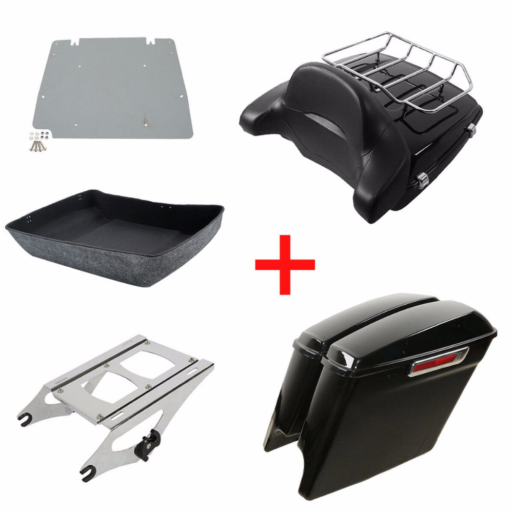"""Motorcycle Tour Pak Pack Trunk 5""""Stretched Extended Saddle Bags For Harley Touring Road King Street Glide Road CVO 2014 2019 18"""