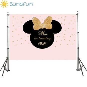 Sunsfun 7x5ft Oro Rosa Gow Bebe Mickey Mouse Ninos Cumpleanos Fondo