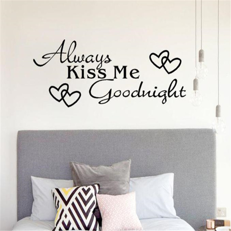 Romantic Mural Love Vinyl Wall Stickers Bedroom Quotes Decals Always Kiss  Me Goodnight Home Decoration Wall Art Decor @50