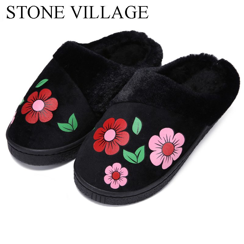 New Arrival Flower Print Flat Indoor Shoes Winter Plush Warm Home Slippers High Quality Women Slippers Size 36-40 2017 new autumn winter women slippers genuine leather high quality rabbit hair fashion slippers flat home slider warm fluff 8 40