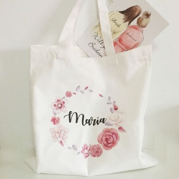 Darmowa Wysyłka 5 sztuk dużo niestandardowe logo Ślubne wieczór panieński prezenty Canva torby druhna prezent torba