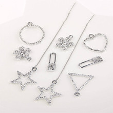 Hair material DIY handmade necklace bracelet necklace earrings Diamond Pendant triangular geometric alloy fittings
