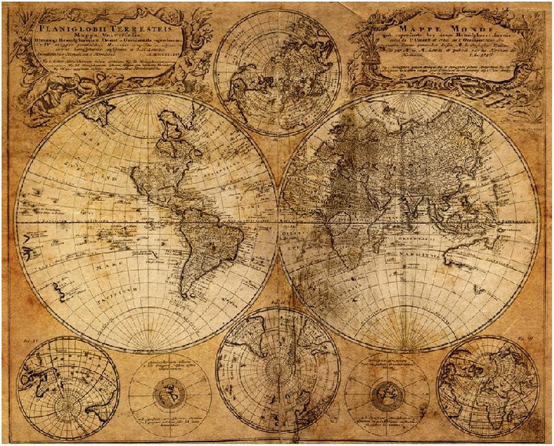 Old World Map Vintage Globe Matte Brown Paper Poster Wall Table Decor Mat Retro