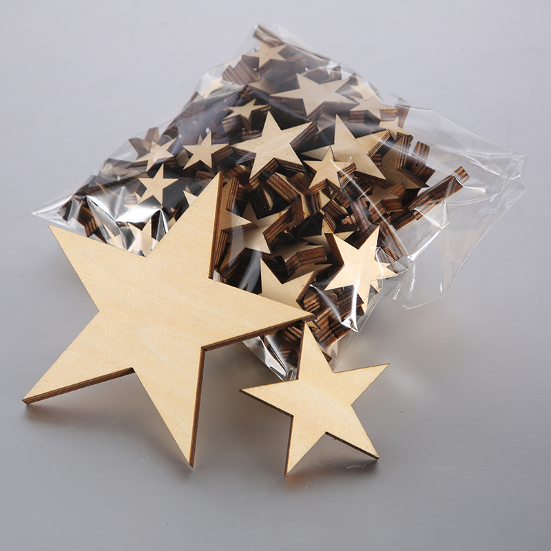 50 qty Small Laser Cut Wood Stars Wooden Stars DIY Craft Supplies Flag Making in Party DIY Decorations from Home Garden