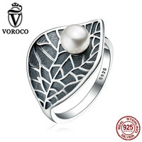 VOROCO Vintage 100 Genuine 925 Sterling Silver Leaves Leaf Pearl Finger Rings For Women Fine Jewelry