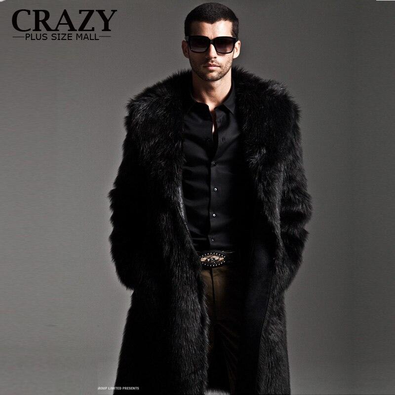 NEW 2017 Plus Size 5XL 4XL 3XL Male Long Design Faux Fur Leather Coats Fashion Autumn and Winter Men Fake Fur Coat