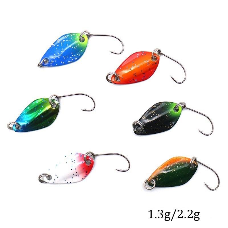 9Pcs 3.2cm 3g Long Cast Fishing Lures Spinner Spoons Hard Bait w//Single Hook