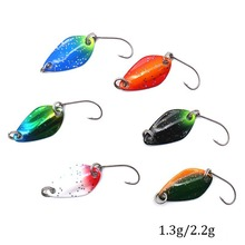 6pcs/lot 1.3g 2.2g Metallic Spoon Fishing Lure  Colourful Sequins Hooks Synthetic Exhausting Baits Sort out Fishing Equipment