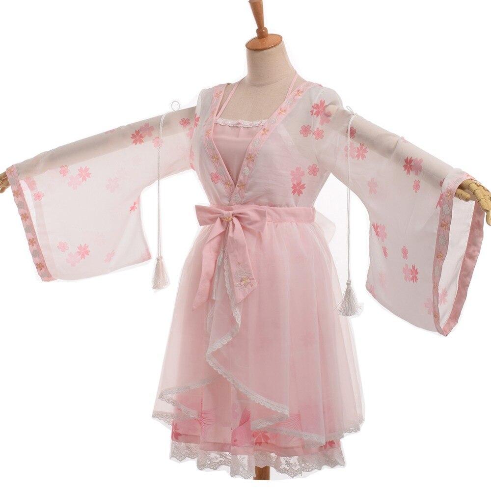 Women Lolita Dress Fantasy Sakura Embrodered Halterneck Kimono Style Costume
