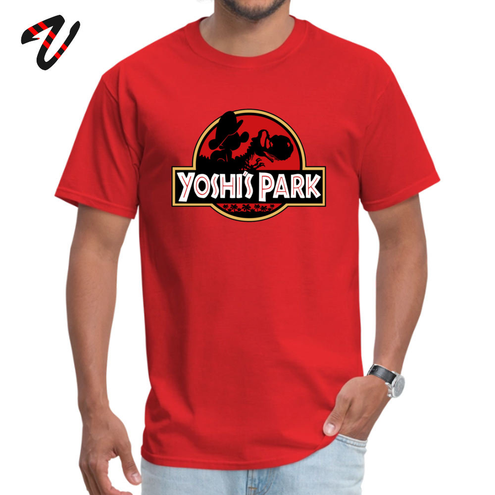 Casual Slim Fit Tops Tees for Men Hip Hop Autumn Round Neck 100% Cotton Short Sleeve Tshirts comfortable T Shirt Yoshis Park with baby Mario 12958 red
