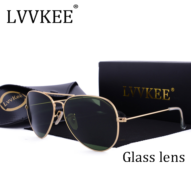 LVVKEE brand designer top quality Aviator glass lenses sunglasses Men women brown G15 Gradient 58mm lens sun glasses UV400 100%