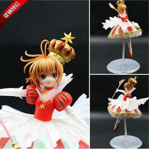 NEW hot 25cm SAKURA Card Captor KINOMOTO SAKURA collectors action figure toys Christmas card captor kinomoto sakura 1 7 scale painted figure 15th anniversary sakura doll pvc action figure collectible toy 26cm kt3366