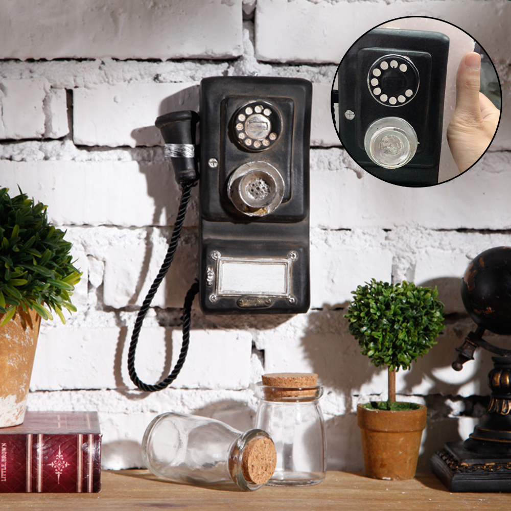 New Crafts Rotary Telephone Statue Old Style Hanging Phone Figurine Wall Mount For Home Decoratioon(China)