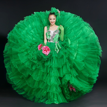 New Design Flamenco Dance Costume for Women Green Opening Dance Costumes Dress Stage Modern Dance Performance