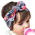 Norvin Newborn Baby headband Elasticity Hair accessories Turban Knot 6 colors bow floral Rabbit Toddler Infant Hairband KT019