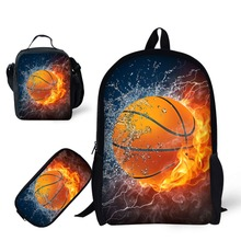 цена на School 3pcs/set 17 inch Book Bag with Pencil Case and Lunch Bag for Age 6-15 Boys Bagpack Football Soccer Basketbal Sport Design