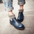 Nueva moda de otoño e invierno zapatos de mujer de tacón bajo de las mujeres botines de tacón de cuero azul y negro mujer botas de invierno 2016