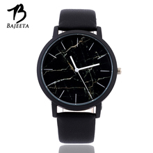 BAJEETA Marble Style Leather Quartz Women Watch Top Brand Men Watches Fashion Casual Sport Wrist Watch