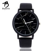 a39f19b5b836 Bajeeta estilo mármol cuero del cuarzo reloj de las mujeres Top marca  hombres relojes moda casual