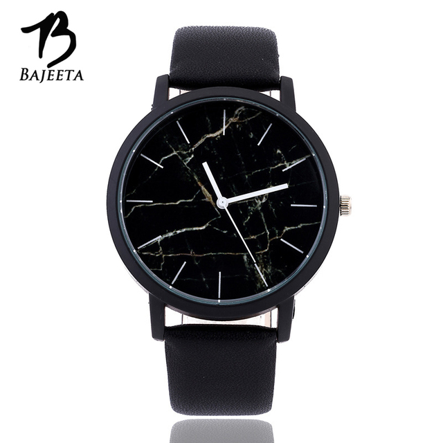 BAJEETA Marble Style Leather Quartz Women Watch Top Brand Men Watches Fashion Ca
