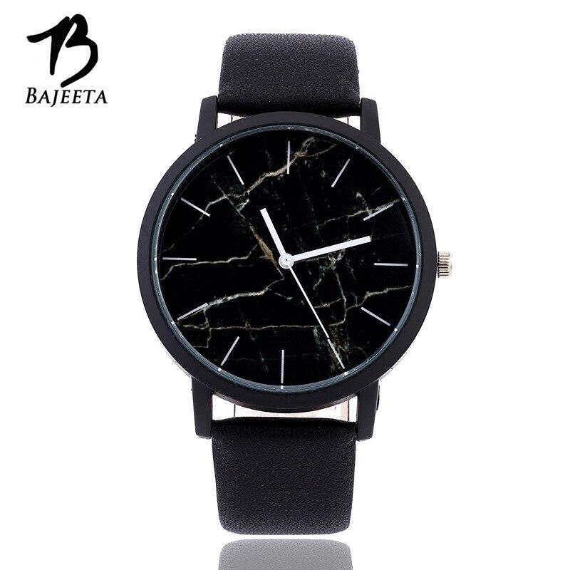 BAJEETA Marble Style Leather Quartz Women Watch Top Brand Men Watches