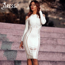 INDRESSME Sexy Full Sleeve Elegant Spaghetti Strap Knee Length O Neck Hollow Out Autumn Women Lady Bandage Dress Vestidos 2018(China)