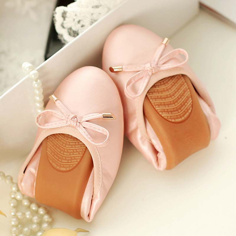 Women Fashion Bowtie Ballet Folding Shoes Cow Muscle Soft Sole Flats Dancing Egg Rolls Shoes Peas Slip-On Loafers Big Size 41 42 summer slip ons 45 46 9 women shoes for dancing pointed toe flats ballet ladies loafers soft sole low top gold silver black pink