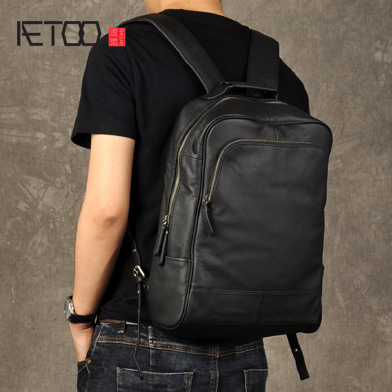 AETOO Original genuine Leather Retro Men backpack real cow Leather Large Capacity backpack men laptop backpack
