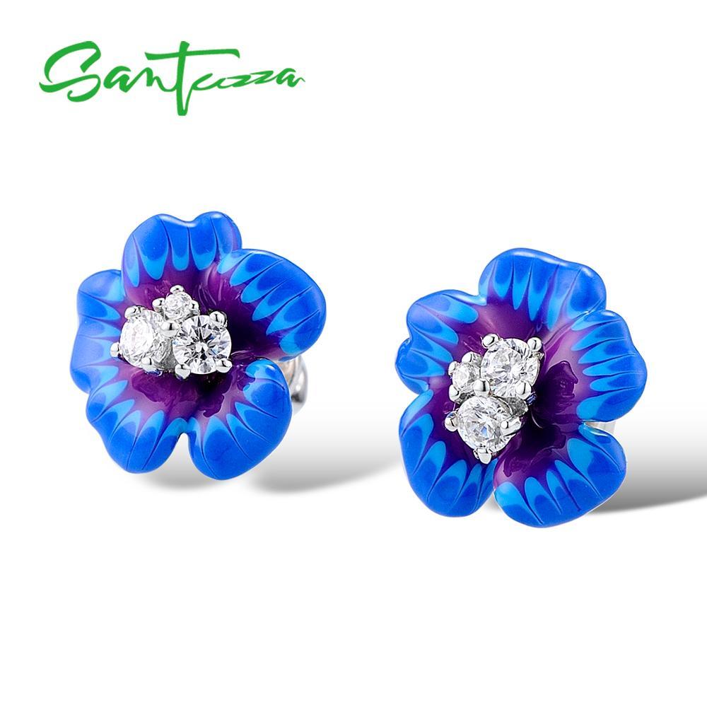 SANTUZZA Silver Earrings For Women 925 Sterling Silver Stud Flower Earrings Blue Flower Cubic Zirconia brincos Jewelry enamel-in Stud Earrings from Jewelry & Accessories