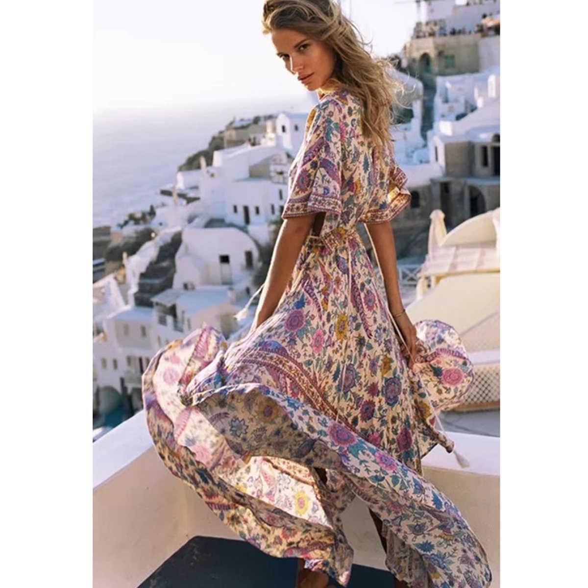 594558f0ca600 Lovebird Retro Boho Maxi Dress Women 2019 Summer Long Sleeve V neck Chic  Sexy Dress Ladies Big Hem Floral Print Beach Long Dress