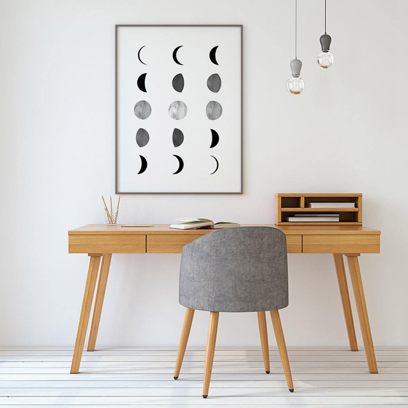 Moon Phases Prints Scandinavian Poster , La Lune Photography Moon Wall Art Picture Canvas Painting Home Room Nordic Wall Decor