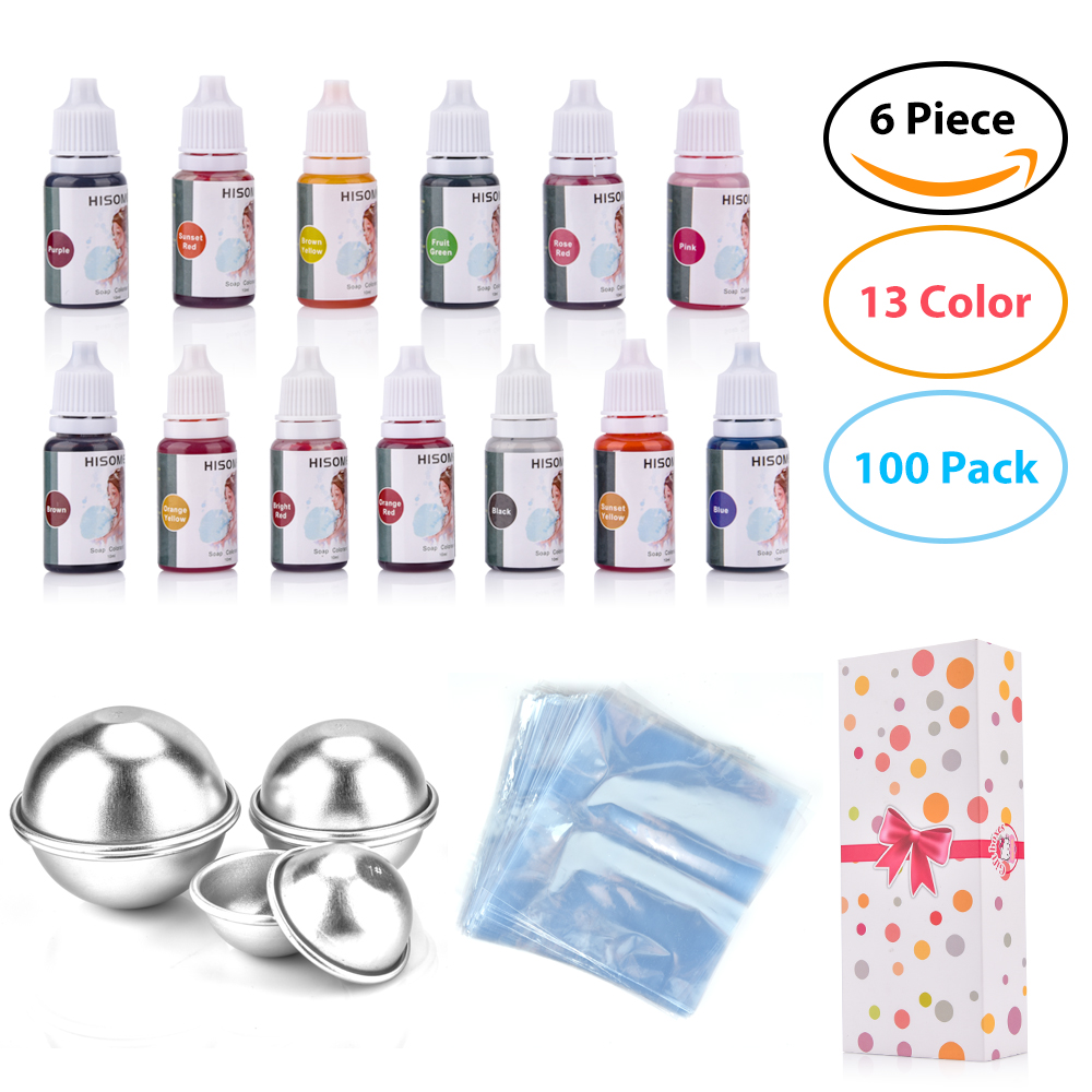 119pcs/set--13 Colors Liquid Soap Dye+6 Pcs Bath Bomb Mold+100 Pcs Opp Bags Food Grade Liquid Bath Bombs Dye DIY Soap Making Kit