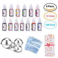 119pcs/set--13 Colors Liquid Soap Dye+6 pcs Bath Bomb Mold+100 pcs Opp Bags Food Grade Liquid Bath Bombs Dye DIY Soap Making Kit
