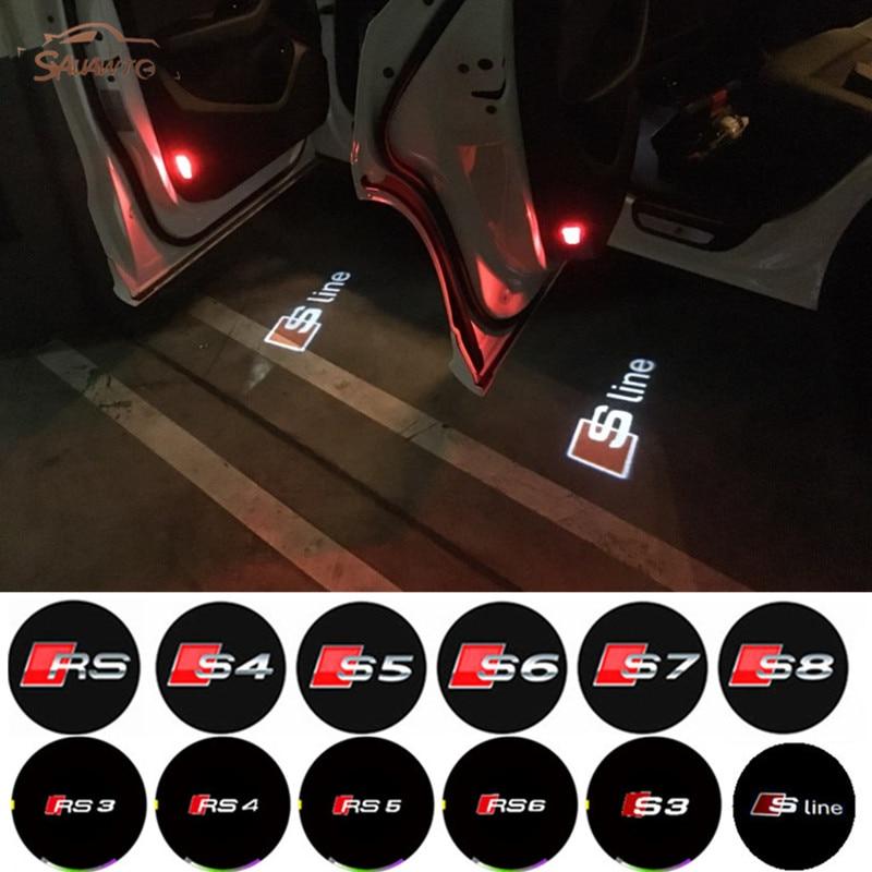 2x Led Car Door Laser Projector light For AUDI A3 A4 A5 A6 A8 B5 B6 B7 B8 C5 C6 S3 S4 S5 S6 S7 S8 RS3 RS4 RS5 RS6 Quattro S LINE