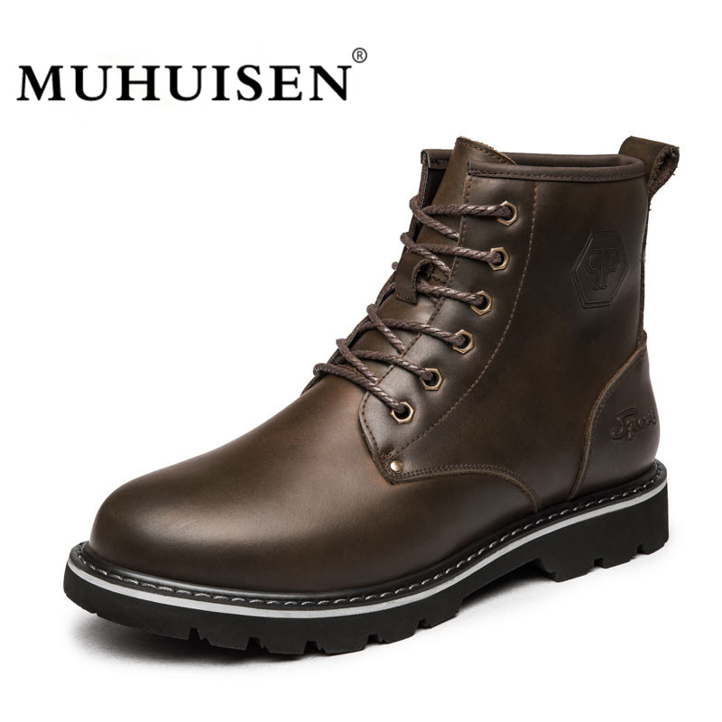 MUHUISEN High Quality Men Ankle Boots Winter Snow Warm Military Shoes Male Genuine Leather Plush Fur Fashion Motorcycle Boots men boots 2015 men s winter warm snow boots genuine leather boots with plus velvet shoes high quality men outdoor work shoes