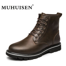 MUHUISEN High Quality Men Ankle Boots Winter Snow Warm Military Shoes Male Genuine Leather Plush Fur Fashion Motorcycle Boots