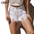 LIENZY Ripped White Jeans Shorts Irregular Frayed Denim Shorts Pocket Holes High Waist Denim Bottoms