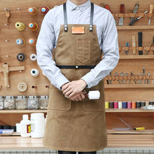 Canvas Apron Cross Back Leather Strap Barber Barista Florist BBQ Chef Uniform Bartender Carpenter Gardener Painter Work Wear K71