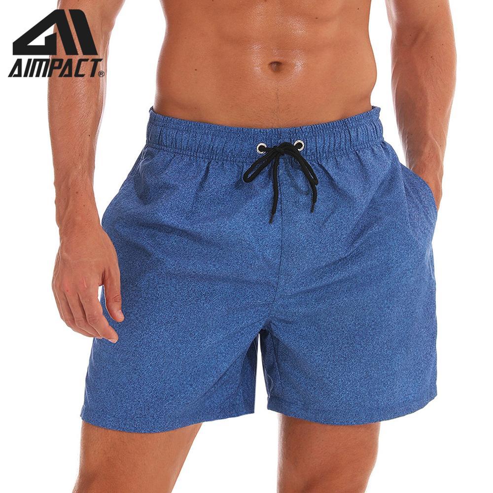 Aimpact Mens Board Shorts Denim Blue Quick Dry Summer Beach Swimming Shorts Fashion Surf Hawaii Mesh Lining Liner Trunks AM2203