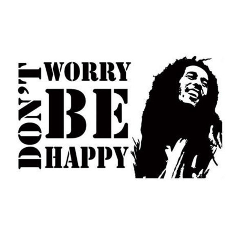 Vinyl Wall Decals Sticker Dont Worry Be Happy BOB MARLEY Music Quote Saying Removable Mural Office Home Decoration