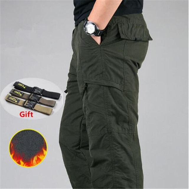 Men's Cargo Pants 2019 Winter Casual Warm Thicken Fleece Pants Men Cotton Multi Pockets Combat Military Baggy Tactical Pants 1