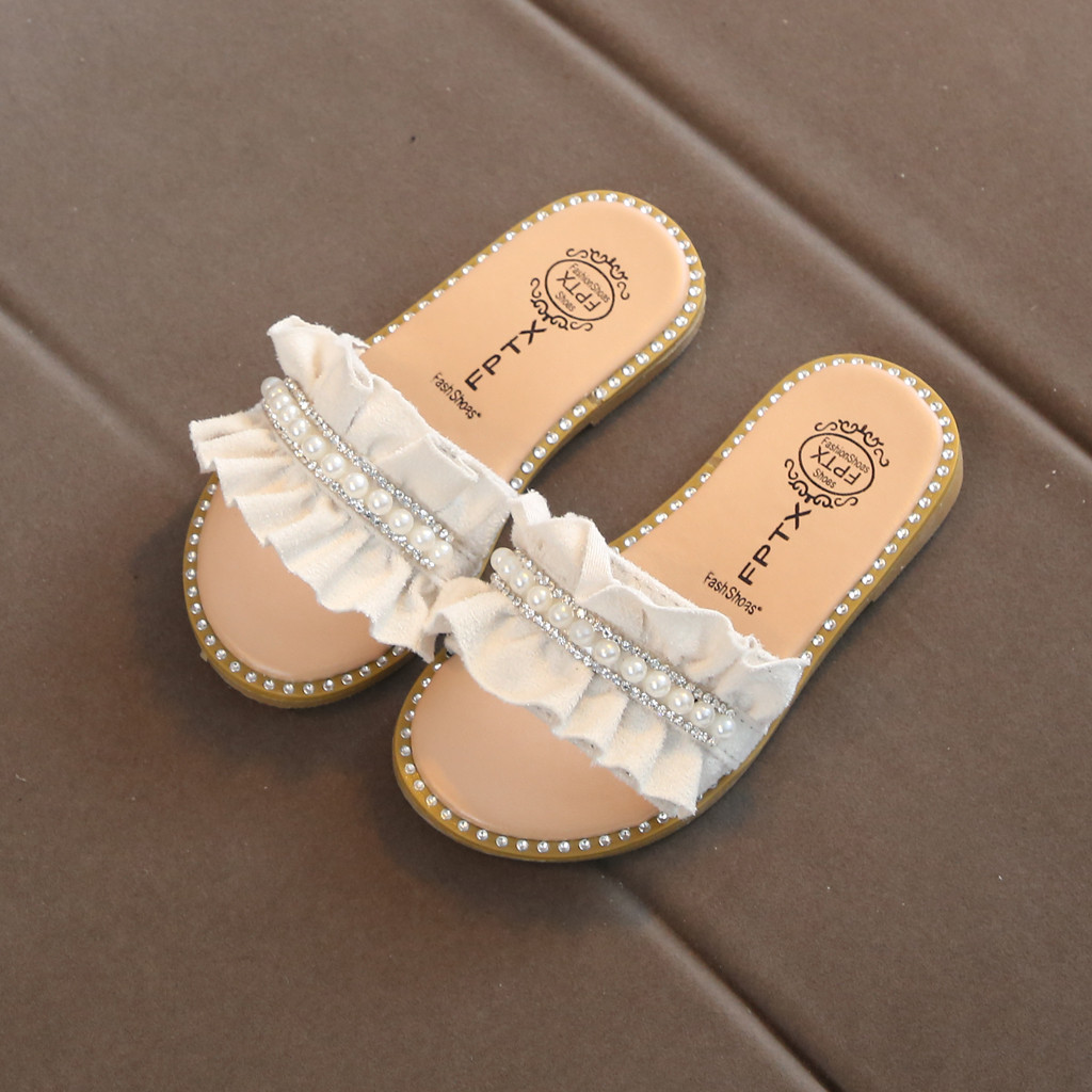 Toddler Kids Baby Girls Pearls Crystal Ruffles Princess Shoes Slippers Sandals