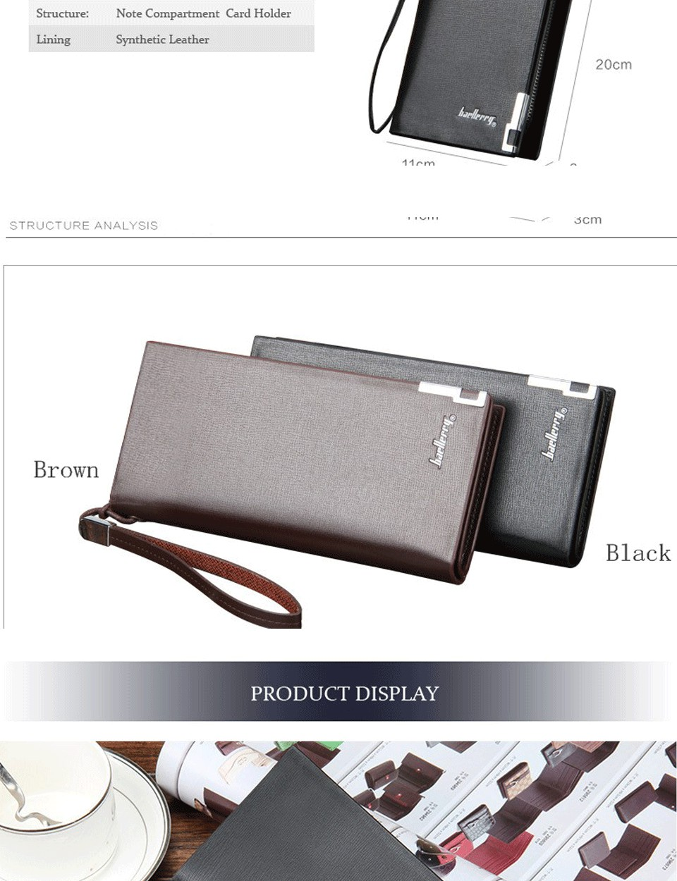 Baellerry Men Wallets Classic Long Style Card Holder Male Purse Quality Zipper Large Capacity Big Brand Luxury Wallet For Men