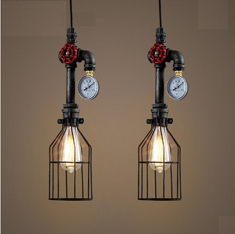 American country loft style iron water pipe edison pendant for Country lighting fixtures for home